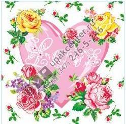 Приобрести оптом Салфетки 20 л., 2-х слойные, Bouquet Original «Сердце и розы»